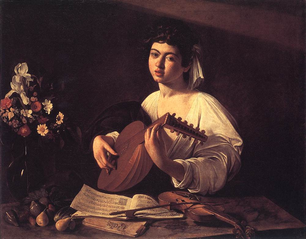 Лютнист <br> Lute Player. c. 1596. Oil on canvas, 94 x 119 cm. The Hermitage, St. Petersburg
