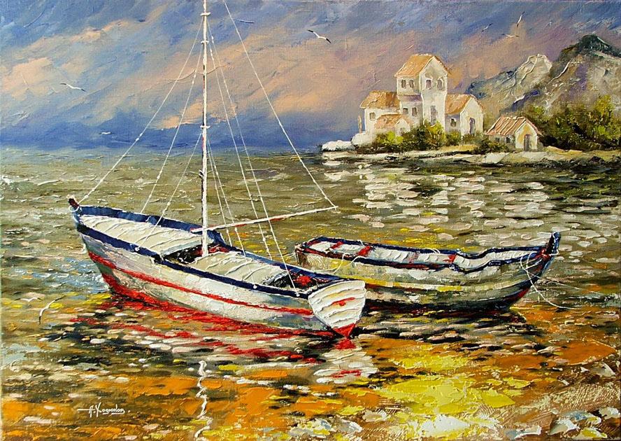 картина маслом пейзаж с лодкой