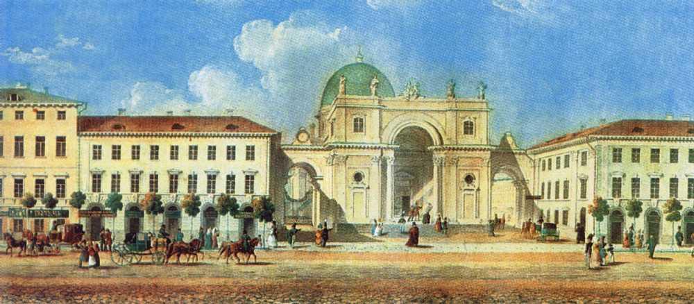 Панорама Невского проспекта. 1830-е. Акварель, масло. Фрагмент